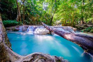Бесплатные фото Erawan,красивый водопад,Национальный парк Канчанабури,Таиланд