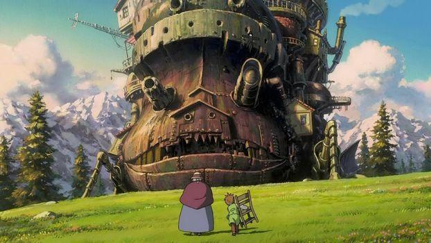 Бесплатные фото ходячий замок,бабушка,мальчик,стул,горы,деревья
