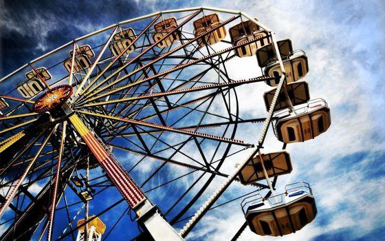 Фото бесплатно аттракцион, колесо обозрения, чертово колесо