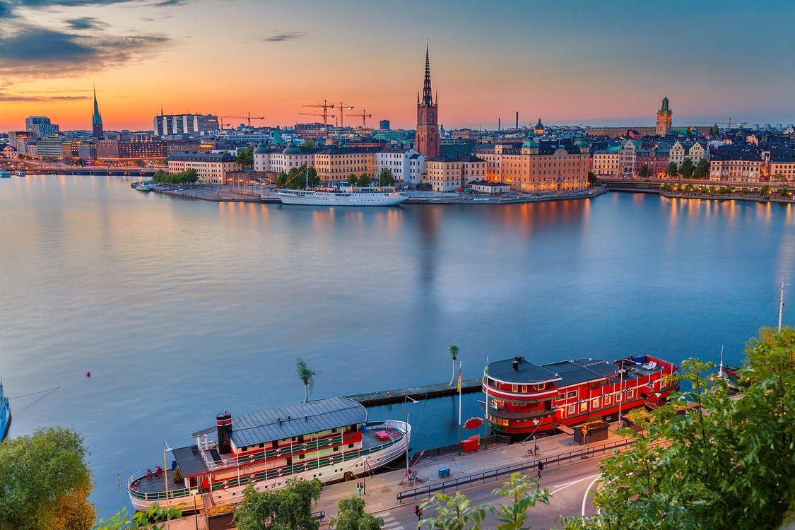 Free photo Stockholm, Sweden, sunset - to desktop