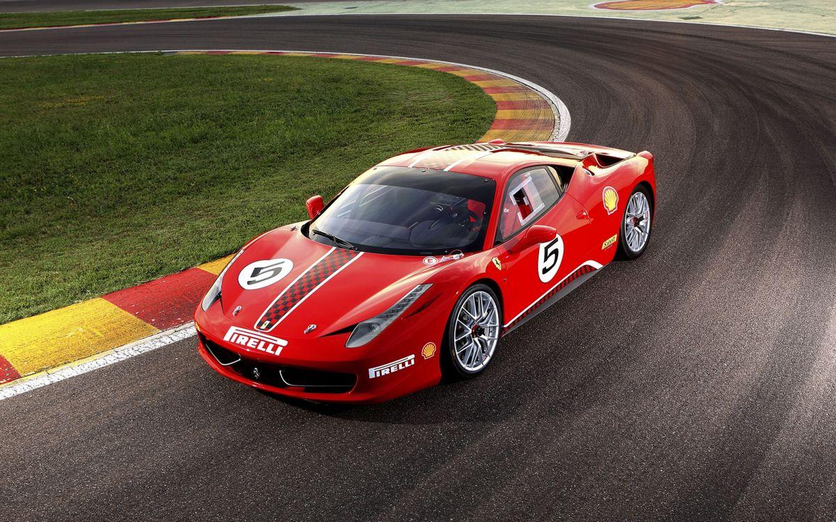 Фото бесплатно Ferrari 458 Challenge, красная, кольцевая дорога - на рабочий стол