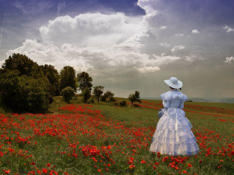 Фото бесплатно Lady in Poppy Field, поле, леди