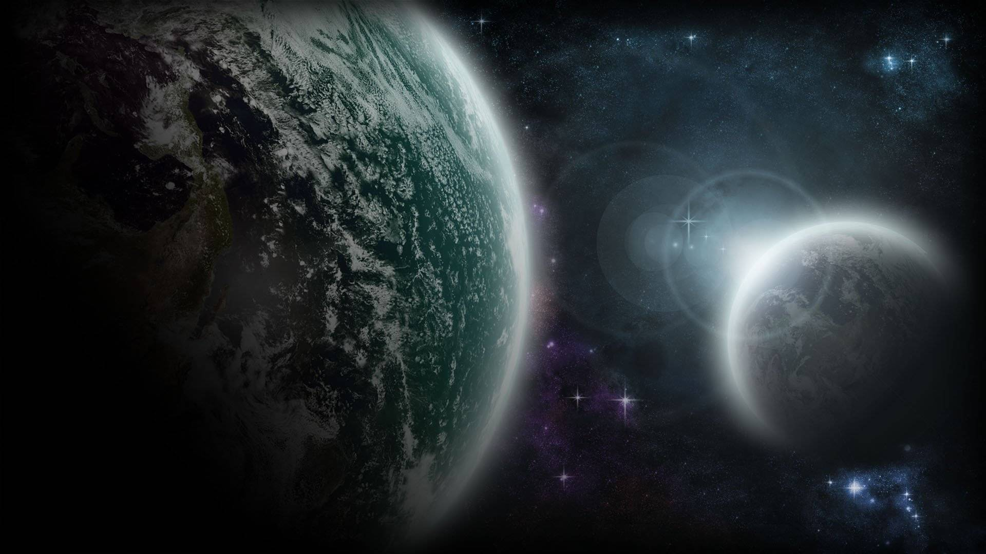 Обои планеты, солнце, звезды, свечение