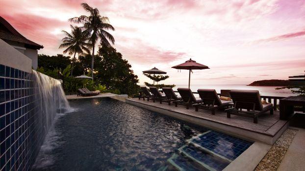 Фото бесплатно курорт, тропики, пальмы