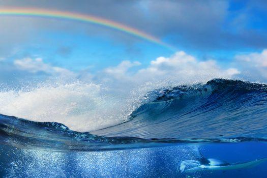 Фото бесплатно волны, радуга