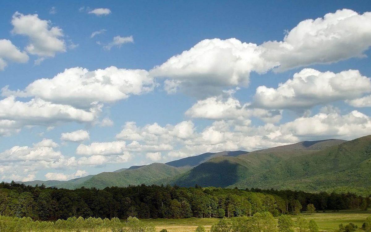 Фото бесплатно лето, поле, трава, деревья, лес, горы, небо, облака, природа