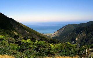 Бесплатные фото побережье,горы,растительность,море,горизонт,небо
