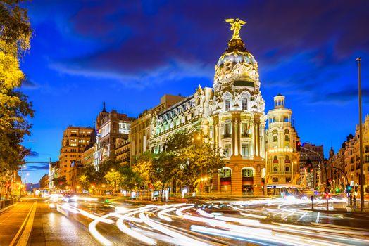 Заставки Мадрид, Испания, городской пейзаж на Калле де Алкала и Гран Виа