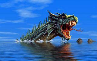 Заставки море, рифы, дракон