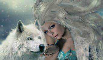 Фото бесплатно девушка, фантастическая девушка, волк