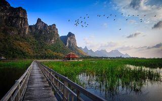 Бесплатные фото мостик,домик,тростник,берег реки,горы,скалы