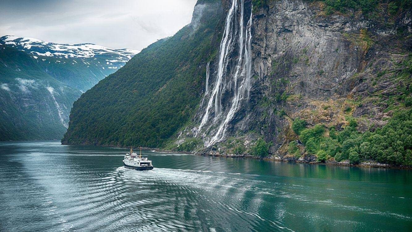 Фото бесплатно Норвегия, Гейрангер, река, горы, водопад, пейзаж, пейзажи