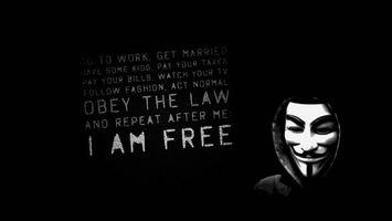 Бесплатные фото хакеры,anonymous,маска,текст,черный фон
