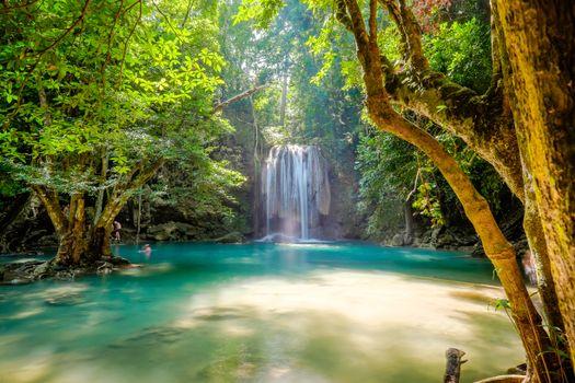 Фото бесплатно Erawan, красивый водопад, Национальный парк Канчанабури, Таиланд