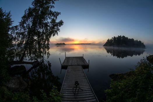 Бесплатные фото закат,озеро,мостик,пейзаж