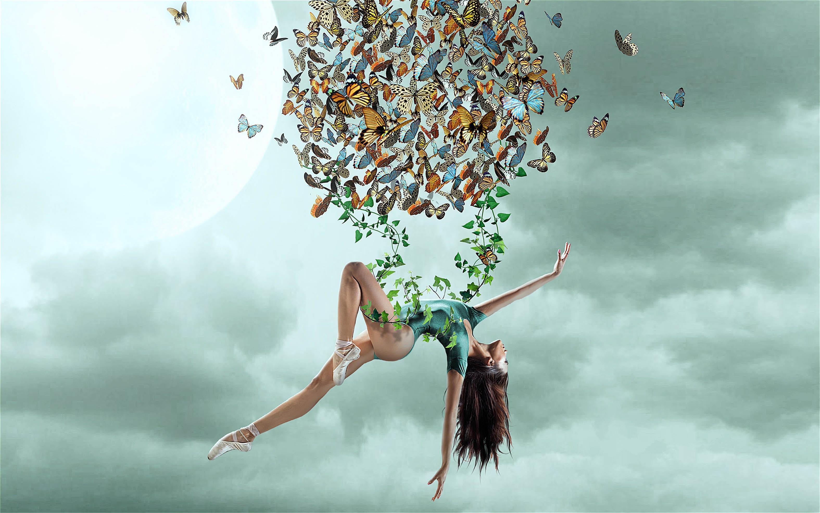 Обои небо, девушка, гимнастка, бабочки