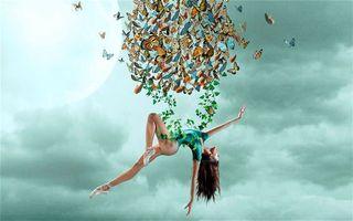Бесплатные фото небо,девушка,гимнастка,бабочки