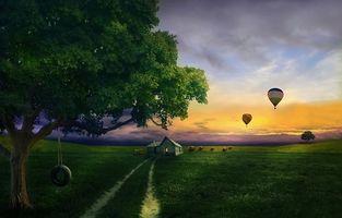 Бесплатные фото закат,поле,дома,воздушные шары,деревья,дорога,пейзаж