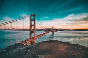 Фото бесплатно san francisco, golden gate bridge, закат