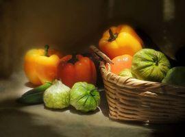 Бесплатные фото физалисы,перец,овощи,корзина,натюрморт
