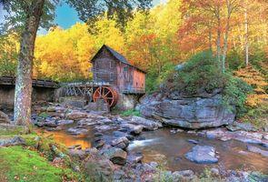 Бесплатные фото Glade Creek Grist Mill,West Virginia,водяная мельница,осень,река,камни,лес