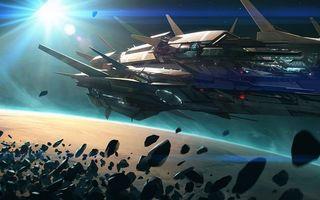 Фото бесплатно космический корабль, метеориты, планета, кольца