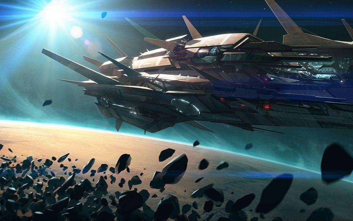Обои космический корабль, метеориты, планета картинки на телефон