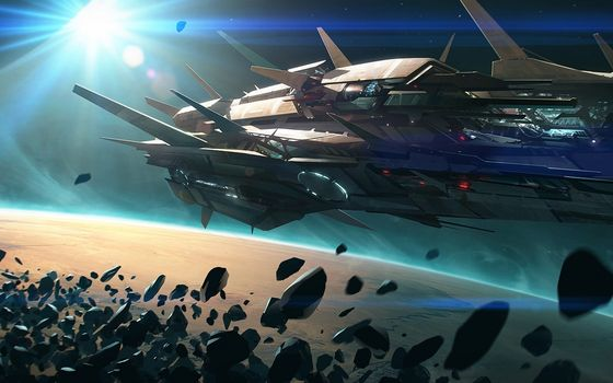 Photo free space ship, meteorites, planet