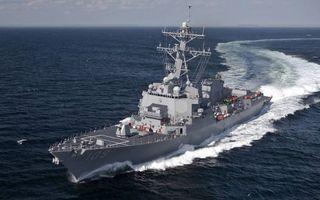 Бесплатные фото эсминец,палуба,вооружения,надстройки,антенны,море,волны