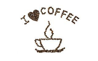 Обои рисунок, зернами, кофе, чашка, надпись, я люблю кофе