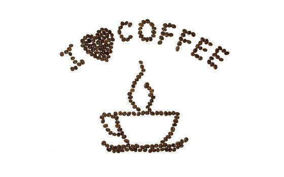 Бесплатные фото рисунок,зернами,кофе,чашка,надпись,я люблю кофе