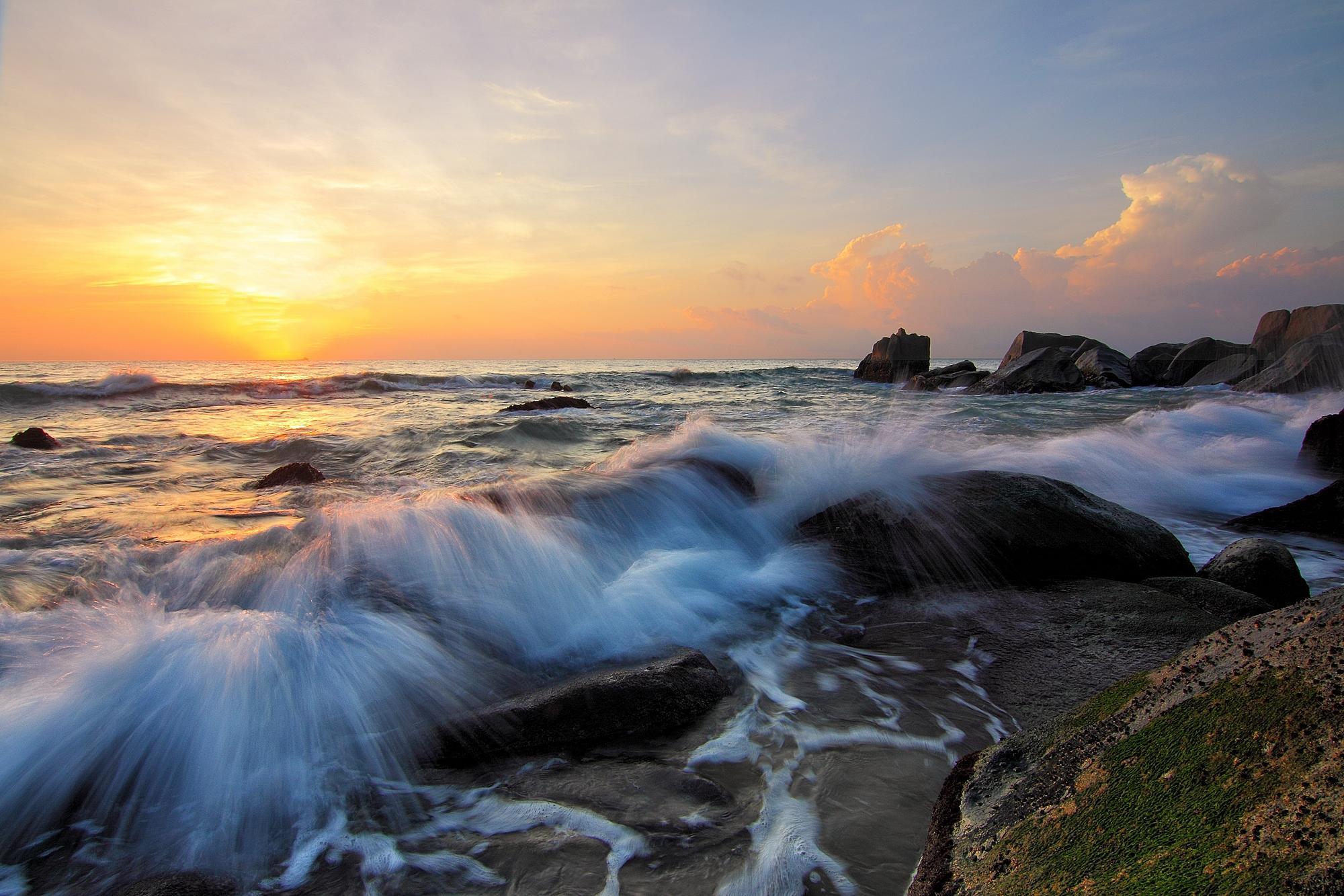 Обои закат, море, скалы, волны