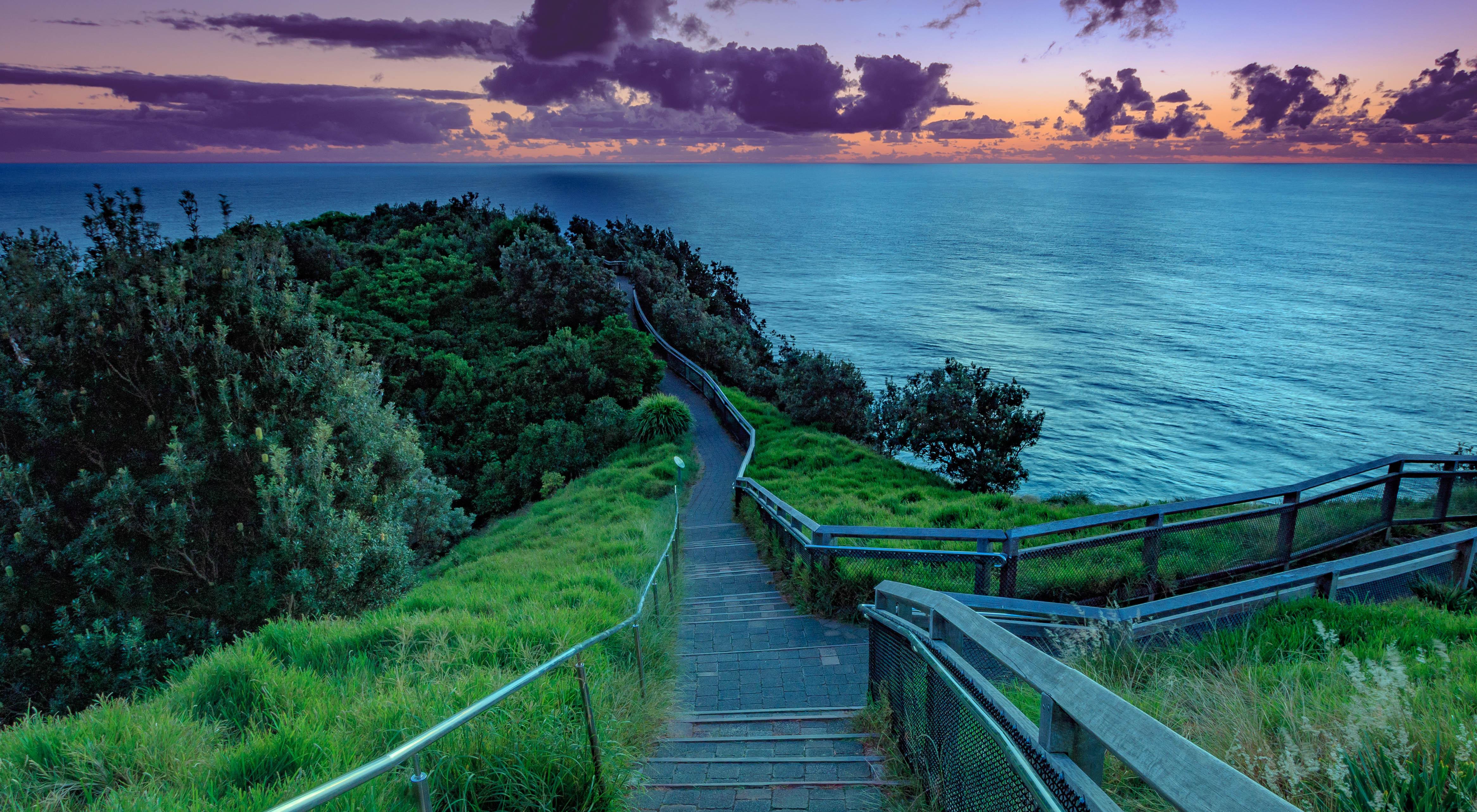 обои закат, море, спуск, ступени картинки фото