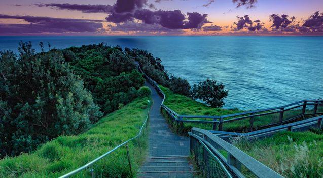 Фото бесплатно закат, море, спуск