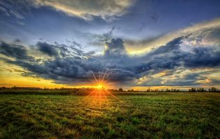 Фото бесплатно закат, поле, дом