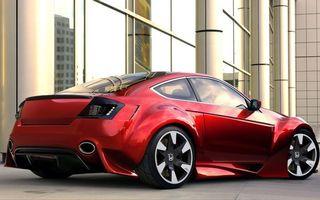 Бесплатные фото хонда, красная, фонари, выхлоп, диски, здание