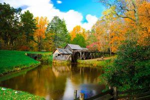 Бесплатные фото Mabry Mill,Virginia,осень,мельница,река,деревья,рейзаж