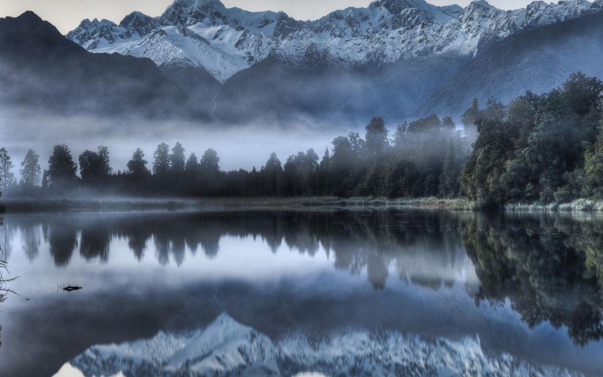 Фото бесплатно озера, горы, деревья, туман, пейзажи