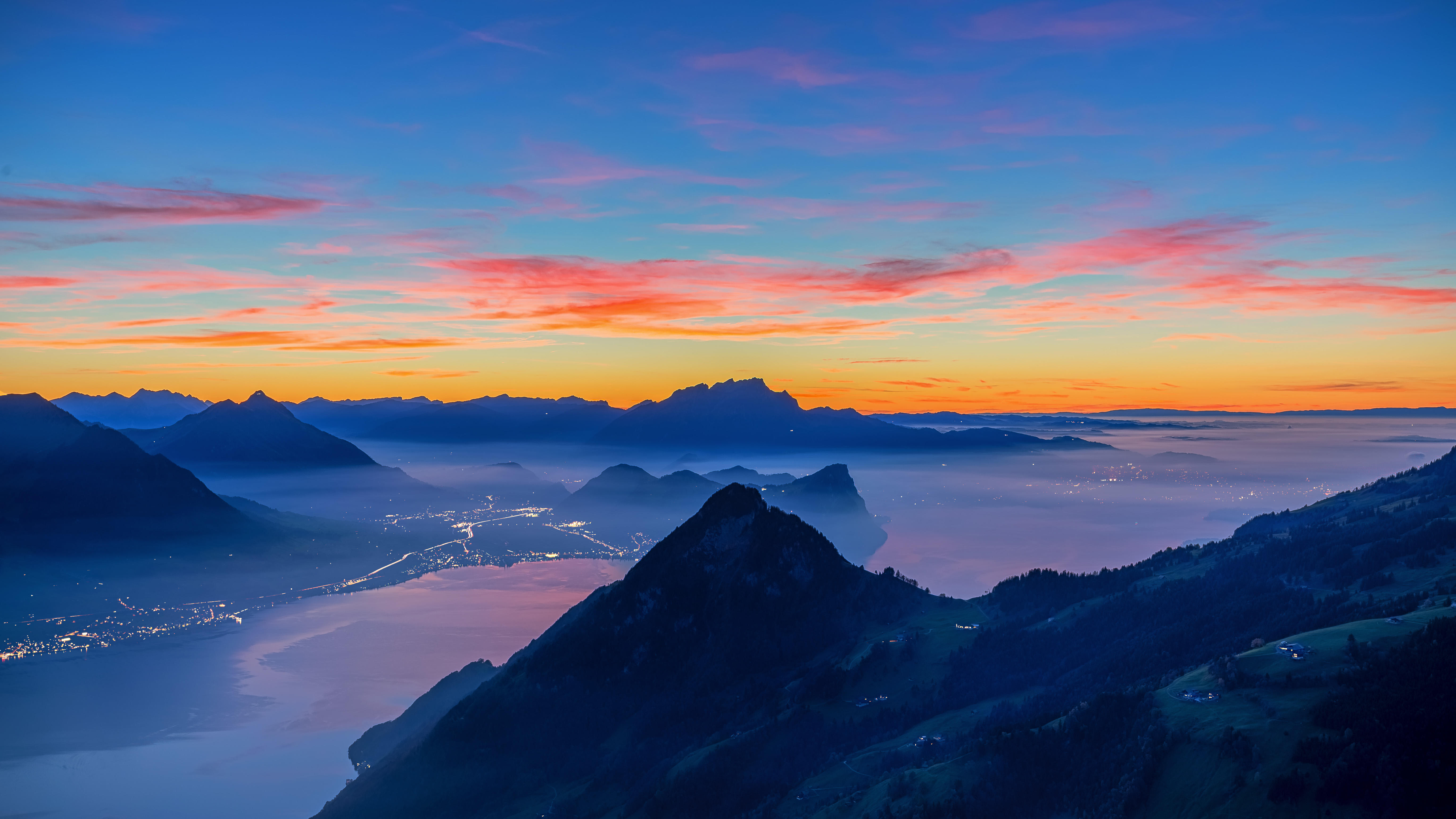 обои Озеро Луцерн, Море тумана, синий час, Туман картинки фото