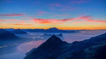 Фото бесплатно Озеро Луцерн, Море тумана, синий час