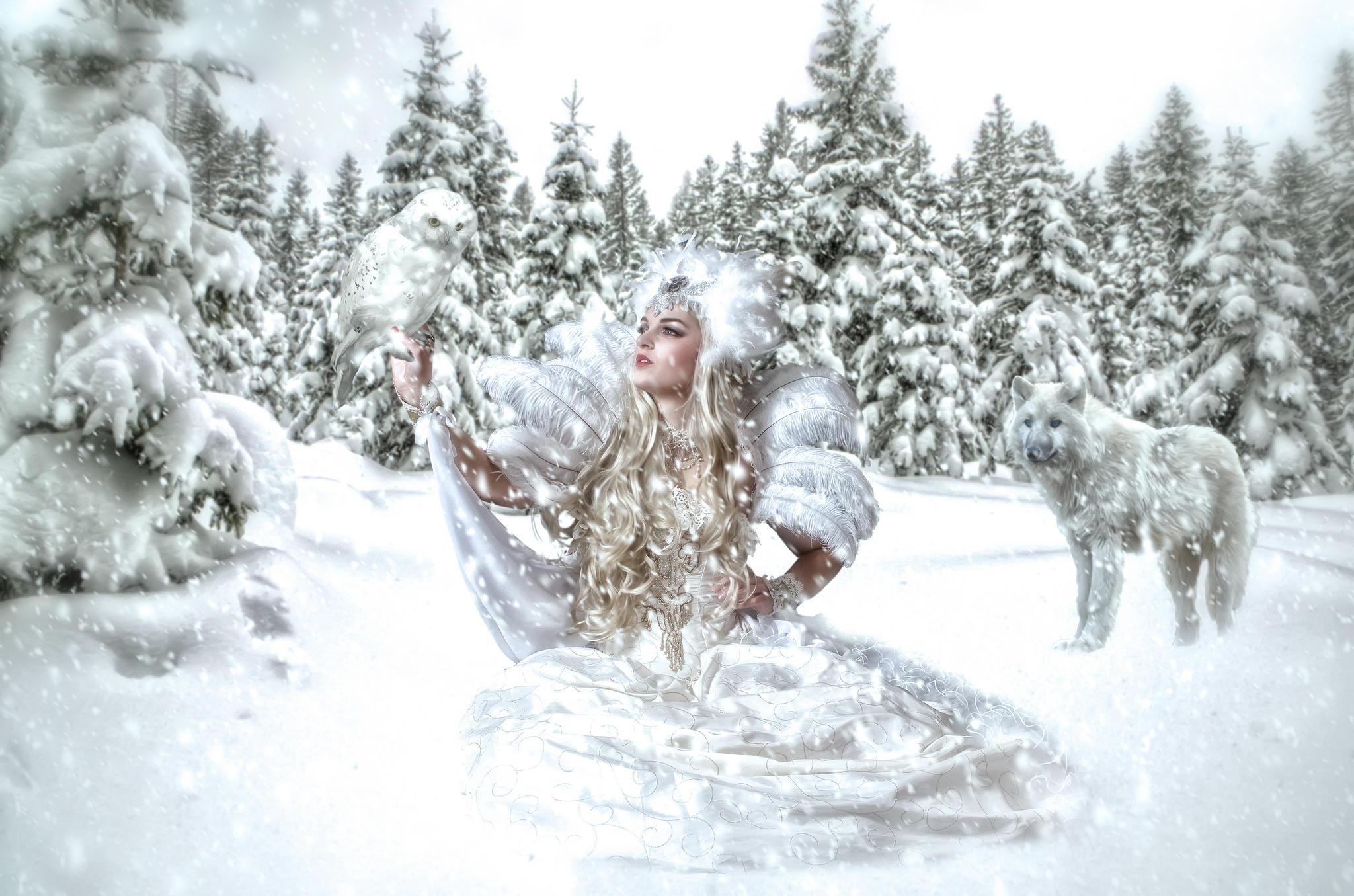 Обои зима, девушка, снежная королева, волк