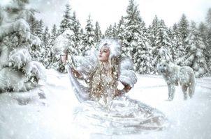 Бесплатные фото зима,девушка,снежная королева,волк,фантазия