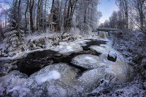 Бесплатные фото зима,река,лес,мост,деревья,пейзаж
