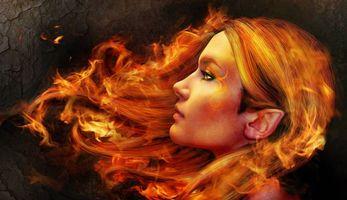 Фото бесплатно девушка, эльф, волосы в огне