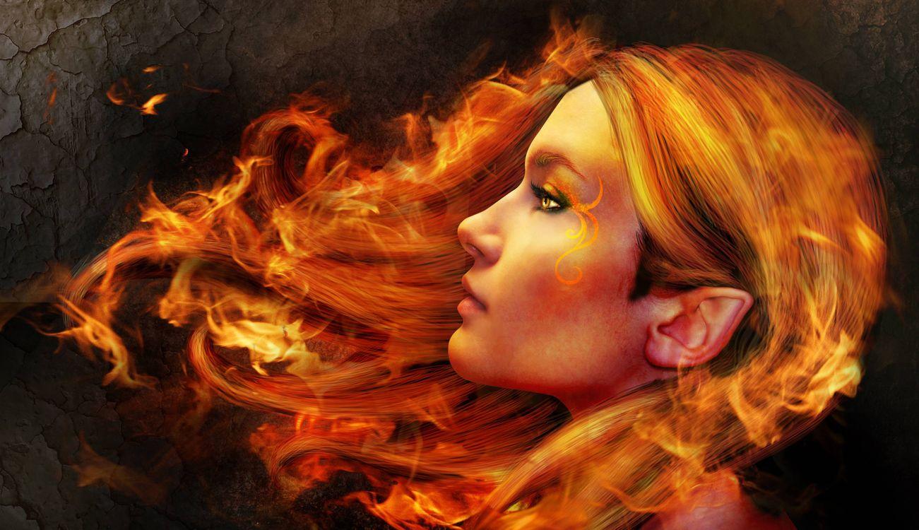 Фото бесплатно девушка, эльф, волосы в огне, рендеринг - скачать на рабочий стол