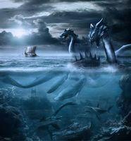 Заставки monsters, драконы, акулы, динозавры, корабли, фэнтези