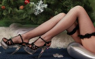 Бесплатные фото новогодняя ёлка,девушка,ножки,чулки