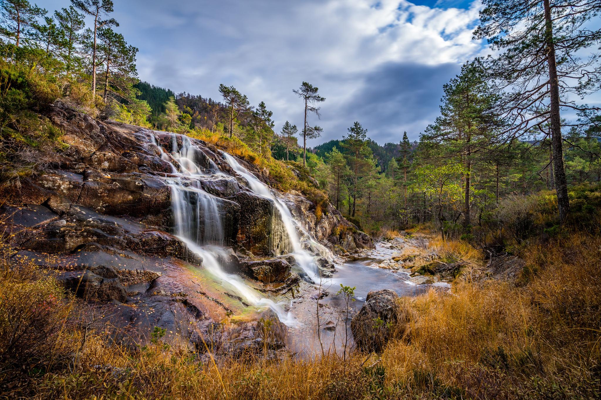 обои Norwegian Fall, водопад, скалы, лес картинки фото