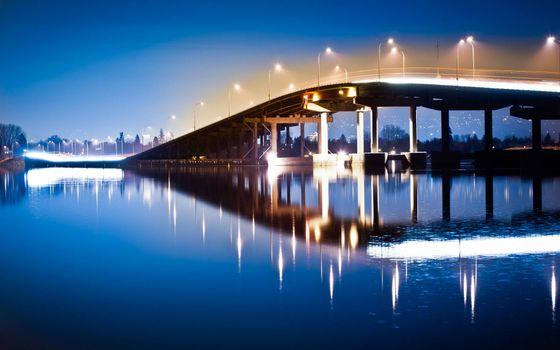 Заставки мост,огни,утро,отражение