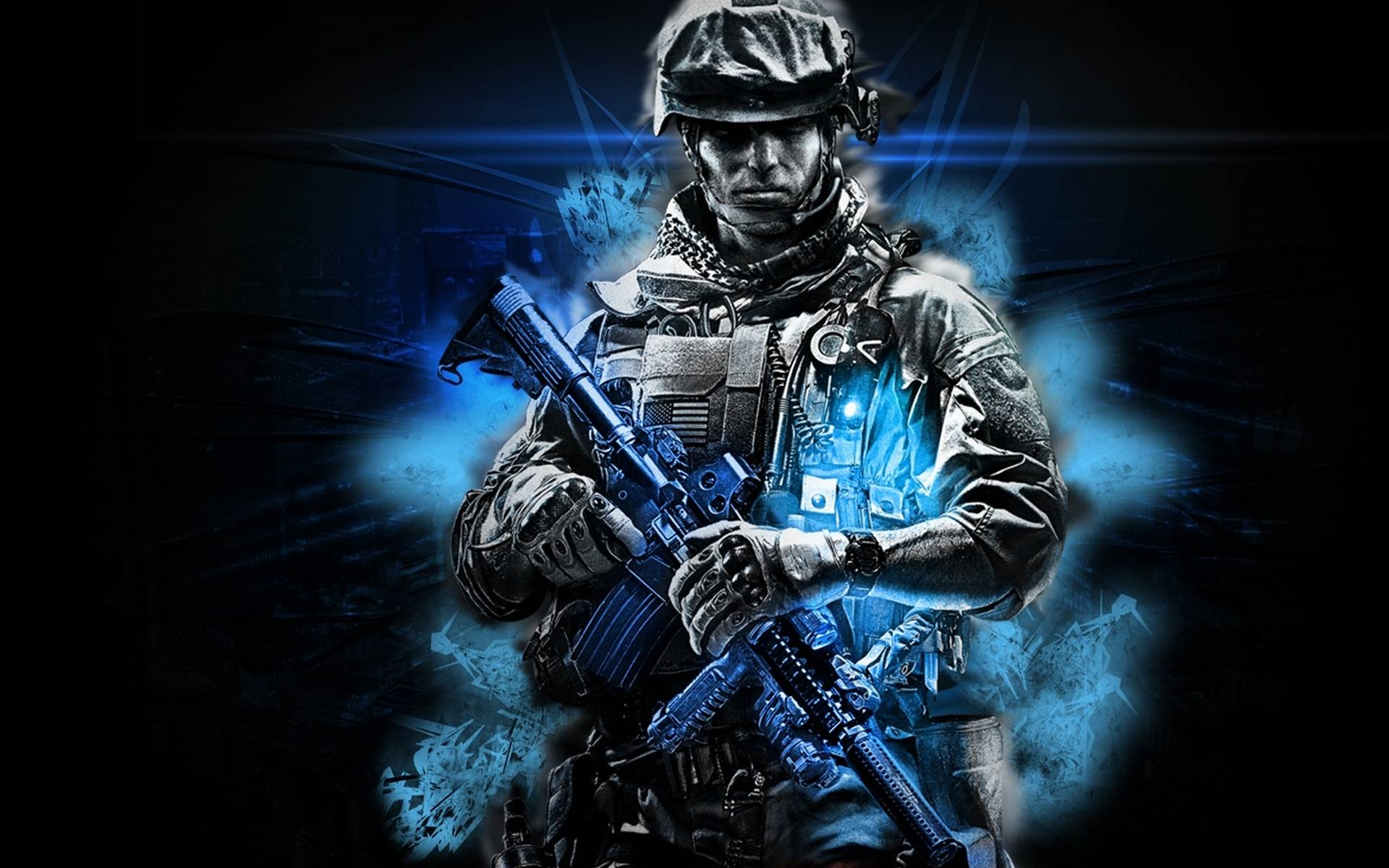Обои солдат, экипировка, шлем, автомат